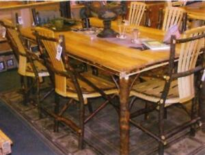 7 Pc Amish Rustic Dining Set Table Chairs Bench Cabin