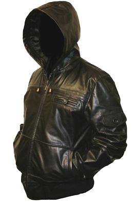 Mens-HOODED-Real-Leather-Bomber-Jacket-Coat-Hoody-Hoodie-Hood-Black-or-Brown
