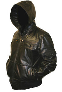 Mens-HOODED-Real-Leather-Bomber-Jacket-Coat-Hoody-Hoodie-Hood-Black-or-Brown