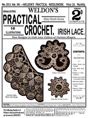 Weldon's 2d 211 C.1902 Irish Crochet Lace Vintage Patterns For Collars