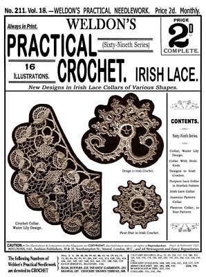 Weldon's 2d 211 C.1902 Irish Crochet Lace Vintage Patterns For Collars