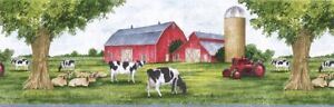 COUNTRY-JOHN-DEERE-TRACTOR-COWS-BARN-Wallpaper-Border-TRY8721