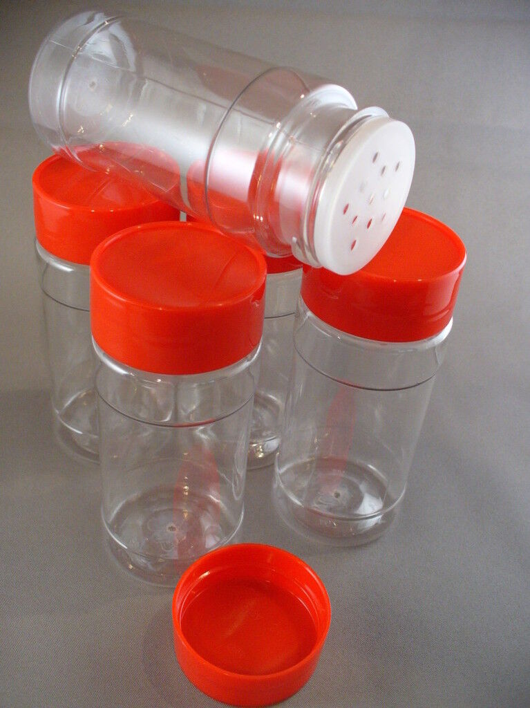 Plastic Spice Bottles Jars 4 Oz Sifter Caps Lot Of 5 Free Shipping