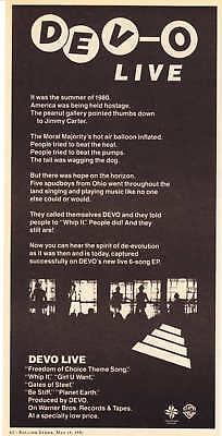 "1981 ""DEVO LIVE"" EP Album Promotional print ad"