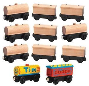 9 WOODEN UNPAINTED TRAINS Thomas Birthday Favor Lot NEW