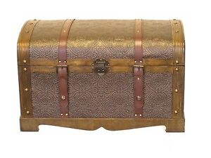 Round-Top-Medium-Victorian-Wood-Storage-Trunk-Wooden-Chest