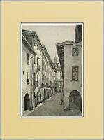 Saluzzo.via Archi Oscuri-piemonte. In Passepartout 1894 -  - ebay.it