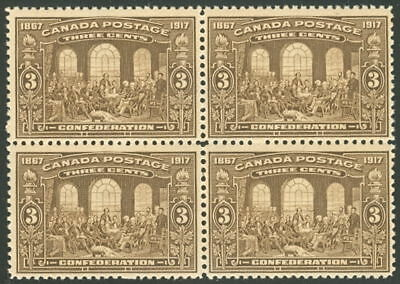 CANADA #135 3¢ brown, Block of 4 NH, VF, Scott $480