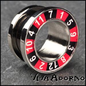 4-14mm-Flesh-Tunnel-Plug-Steel-Roulette-Poker-Ear-Piercing-TNP1