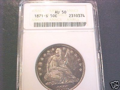 Click now to see the BUY IT NOW Price! 1871 S SEATED LIBERTY HALF DOLLAR..AU..ANACS GRADED..90 DAY LAYAWAY AVAILABLE
