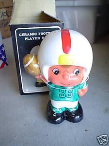 Vintage ceramic football player boy bank mib 2 look ebay - Ceramic piggy banks for boys ...