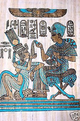 Ägypten Papyrus-Bild 30x40 - Pharao mit Gespielin
