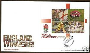 GREAT-BRITAIN-2003-RUGBY-WORLD-CUP-TWICKENHAM-Pictorial-Postmark-S-Sheet-FDC