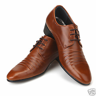 New Mens Italian Style Dress Casual Shoes Brown Sz 8.5