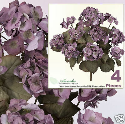 Four 23 Hydrangea Artificial Flowers Silk Plants 0577