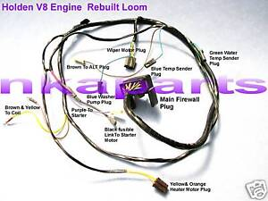holden hq hj v8 308 253 gts ss engine wiring loom harness looms ebay wiring harness connector plugs image is loading holden hq hj v8 308 253 gts ss