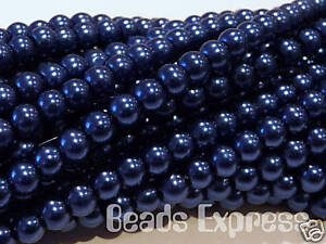 Midnight Blue 4mm 200pcs Glass Pearl Beads CR4018