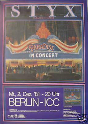 STYX CONCERT TOUR POSTER 1981 PARADISE THEATER