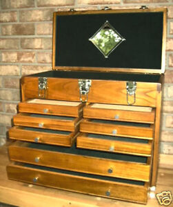 8 drawer machinist wooden tool chest wood cabinet box ebay. Black Bedroom Furniture Sets. Home Design Ideas