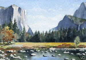 Yosemite-Valley-ACEO-Miniature-Art-Print-on-W-C-Paper-Signed-by-Artist-DJR