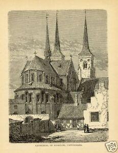 1884 DANIMARCA COPENHAGEN Roskilde Stampa Antica Old Engraving - Italia - L'oggetto può essere restituito - Italia