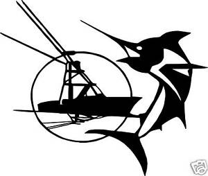 Offshore marlin fishing saltwater boat vinyl decal 9 5 for Saltwater fishing decals