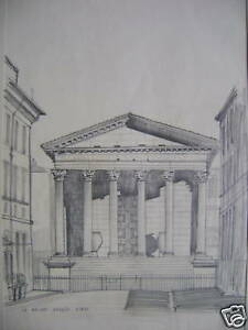 FRANCE-LA-MAISON-CAREE-NIMES-PENCIL-STAN-CLAPHAM-1950