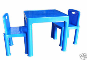 Blue Activity Table & Two Chairs - Plastic Kids Table Set and Chairs