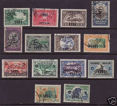 Liberia # O127-40 Complete Set of 1921