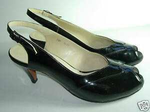 WOMENS-BLACK-PATENT-LEATHER-PEEP-TOE-SLINGBACK-SANDALS-HEELS-SHOES-SIZE-7-5-M