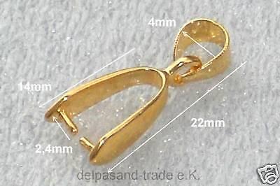 5 Stk. Aufhänger, goldfarben, gebohrte Steine, Pendant 22mm, F98