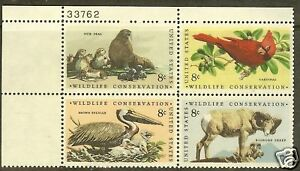 Scotts #1464-67  8c  WILDLIFE CONSERVATION  Plate Block