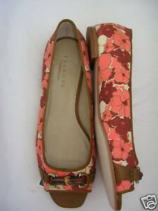 TALBOTS Canvas Sandal Peep Toe Bamboo Detail Flat Sandal Canvas 9 M NWOB 137d6e