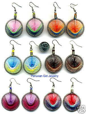 30 Thread Dreamcatcher Earrings Peru Jewelry Hand Woven