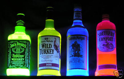Captain Morgan GLOWING NEON Blacklight Rum Bottle -- add poster sign -- UV Glow!