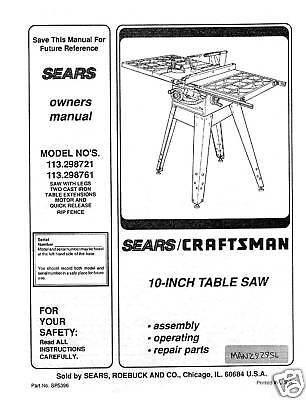 Sears craftsman table saw manual model 113 298761 ebay for 10 craftsman table saw manual