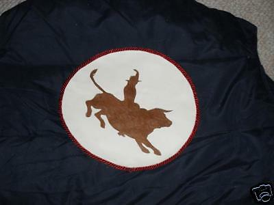 Vest,bull Rider Applique Size M, Cotton / Nylon, Blue , Very Nice