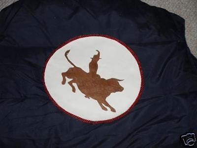 Vest,bull Rider Applique Size M, Cotton / Nylon, Blue , Very Nice