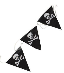 PIRATE SKULL & CROSSBONES PARTY BUNTING FLAGS BANNER 7M BIRTHDAY DECORATION FUN