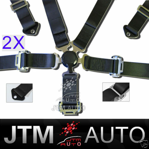2X 5 POINT CAMLOCK RACING SEAT BELT HARNESS BELTS BLACK