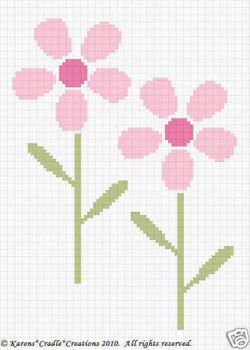 Crochet Patterns Daisy Flowers Color Graph Pattern Easy Ebay