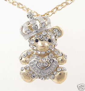 A Beautiful Crystal Teddy Bear Sweater Necklace  N1149