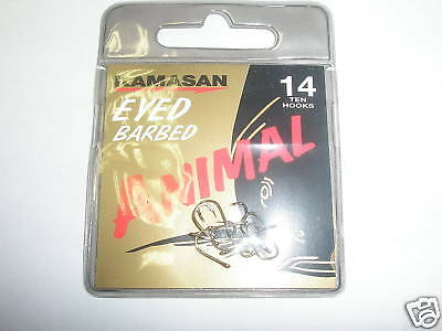 Kamasan 3 X Animal Eyed Barbed Hook Packs Sz16 Fishing