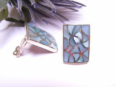 Schmuck-stck Ohrclip Perlmutt Mosaik Silber Blau S Neu