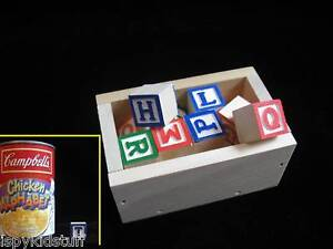 5-SETS-Miniature-Wood-Alphabet-Blocks-Letters-w-5-Wooden-Crates-STOCKING-STUFFER