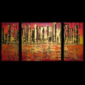... Abstract Red Gold City Comm Art Lynne Pickering 8229 Wall Art | eBay