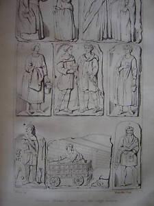 Gravure Costumes GAULOIS d'après bas-reliefs antiques - France - Période: XIXme et avant - France