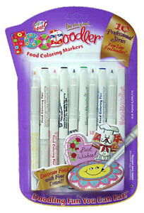 Edible Ink Marker Pens by Foodoodler - food colouring - pack of 10 fine line NEW