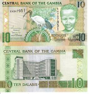 GAMBIA-10-Dalasis-Banknote-World-Paper-Money-UNC-Currency-BILL-Ibis-Bird-Note