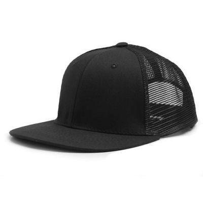 8b68ddddbe9 Black cotton mesh panel trucker style flat bill snapback JPG 400x400 Flat  trucker hat tard